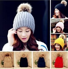 Winter Warm Fur Knitted Bobble Pom Beanie Hat Crochet Slouch Baggy Beret Ski Cap