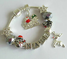 PERSONALISED CHRISTMAS CHARM BRACELET ANY NAME FATHER CHRISTMAS ON SLEIGH GIFT