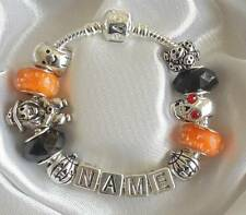 PERSONALISED HALLOWEEN CHARM BRACELET ANY NAME WITCH GHOST PUMPKIN SKULL