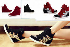 New Tennis Flats Shoes Sneakers Boots Women's Booties High Top Velcro Wedge Heel