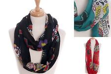 NEW Sugar Skull Floral Cross Multi Color Infinity Infiniti Scarf Scarves Chic