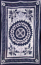 BATIK FLORAL CHAKRA NAVY&WHITE TAPESTRY ALL SZS THROW COVERLET BEDSPREAD DECOR!