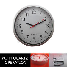 WALL CLOCK Watch Quartz Analogue Silver Round Home Accessories Kitchen Bedroom