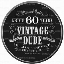 Happy 60th Vintage Birthday ~ Frosting Sheet Cake Topper ~ Edible Image ~ D10095