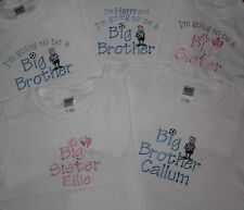 Big Brother Sister T-shirt or I'm going to be butterfly / football personalised