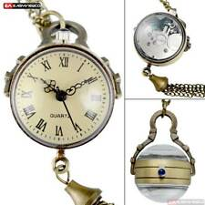 5pcs/10pcs Wholesale Quartz Pocket Watch Glass Ball Eye Necklace Roman New Gift