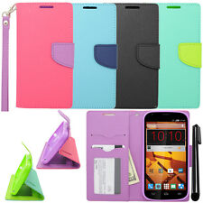 For ZTE Warp Sync N9515 Flip Wallet LEATHER Skin POUCH Case Cover Phone + Pen