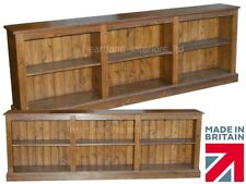 Solid Pine Bookcase, 8ft Wide Low Adjustable Display Shelving Unit, Bookshelves
