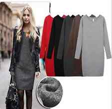 Autumn/Winter Sexy Women Mirco Velvet Woolen Thickening Round Collar Dress Skirt