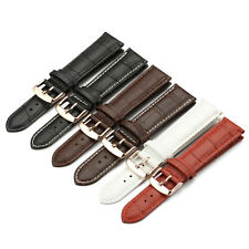Croco Grain Leather Watch Band Strap Rose Gold Buckle 14 16 18 19 20 21 22 mm