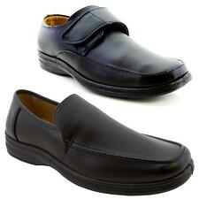 Gents Mens Slip on Velcro Shoes Black office Boys School Casual Formal Boots