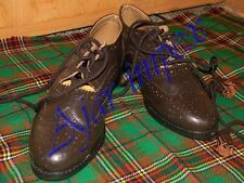 Chocolate Brown Ghillie Brogues Kilt Leather Shoes with Leather Sole All size