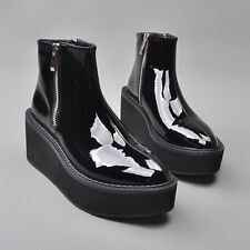 Womens Punk Wedge Heel Platform Creepers Pointed Toe Cowboy Ankle Boots Shoes