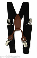 Boys Solid Black Suspenders  Fits Ages 2 - 5 Years - 2T 3T 4T 5T