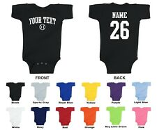 Custom Choose Text & Number Personalized Baseball Baby One Piece, ARCHED TEXT