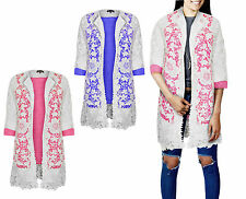 Womens Ladies New Lace Floral Lined White Blazer Coat Jacket Cardigan Top 8-14