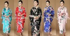 Wholesale Black blue red pink Chinese Silk Women's Kimono Robe Gown with obi