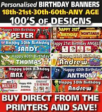 Personalised Birthday Party Banners Premium Vinyl 18th, 21st 90th, any age