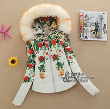 Hot!women hooded Printed coat fur collar Slim down jacket padded cotton jacket