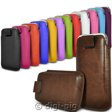 COLOUR (PU) LEATHER PULL TAB POUCH CASES FOR SAMSUNG GALAXY ALPHA MOBILES