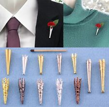 "Deco ""Poirot"" Brooch/Lapel Pin Vase Posy Holder. Corsage,Buttonhole,Boutonniere."