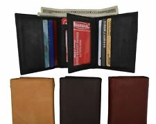 New Mens Trifold Leather Wallet Multi Pockets Black Classic Style Card ID