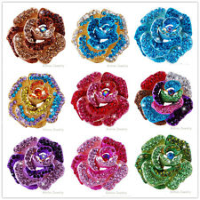 Luxury Crystal Brooch Pins Rose Flower Wedding Bridal Rhinestone Bouquet Jewelry