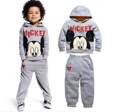 New Kids Baby Boy Mickey Mouse Hoodied Top+Pants Outfit Sets Sportswear For 2-7Y