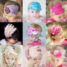 Baby Girl Kids Infant Peacock Feather Headband Flower Hairband Hairdress 1Pcs