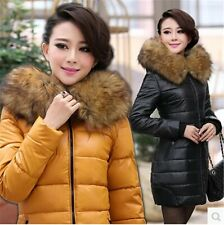 Plus size winter coat thickening long women down cotton Big fur collar Pu jacket