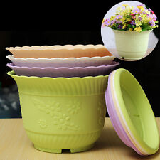 Colorful Plastic Flower Vegetable Planter Round Pots With Tray Home Garden Decor