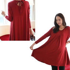 New Red Maternity Dresses Clothes for Pregnant Women Casual Maternity Clothes