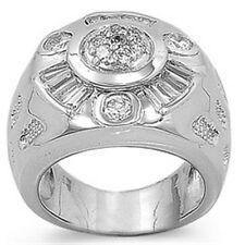 925 Sterling Silver Clear CZ Round Design Men's Right Hand Stamp Ring Size 8-16