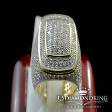 MEN'S ITALIAN STERLING SILVER 14K YELLOW GOLD FINISH LAB DIAMOND PINKY RING BAND