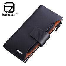 Men Genuine Leather Zipper Clutch Long Wallet ID Coin Purse Checkbook Handbag