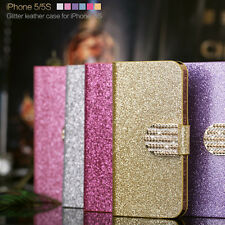 Bling Strass Aimant PU Cuir Housse Coque Etui Portefeuille Support Pr IPhone4/5s