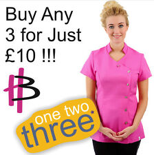 Hot Pink Salon Wear Beauty Tunic SALE 3 For £10 !!!  All +Plus Sizes HB070HP