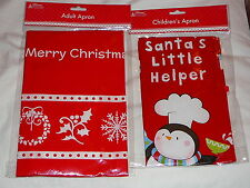 CHRISTMAS APRON ADULTS OR CHILDRENS SIZE NOVELTY DINNER GIFT PLASTIC 2 DESIGNS