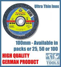 Klingspor 100mm Thin Metal Cutting Discs for Angle Grinder - 25, 50 or 100 Pack