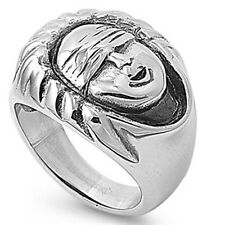 Stainless Steel Men's Face Biker Stamp Right Hand Wide Band Lucky Ring Size 9-13