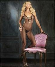 Fishnet Halter Bodystocking with Strappy V-Front & Open Crotch -Catsuit Bodysuit