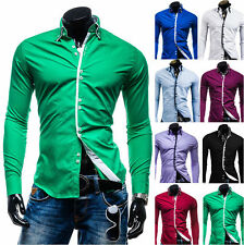 Luxury Mens Fashion Stylish Slim Fit Long Sleeve Dress Formal Casual Shirt Tee