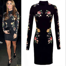 New Fashion Women Celeb Black Floral Bodycon Long Sleeve Dress Club Party Outfit