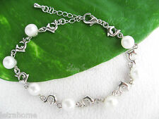 7-8mm Real White Cultured Freshwater Pearl Dolphin Bracelet Jewellery Gift PB002