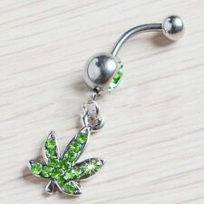 Fashion Navel Ring Green Weed Pot Leaf Belly Button With Clear CZ Gem