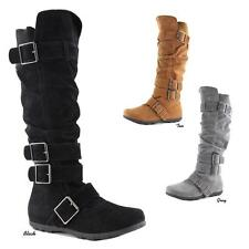 NEW Women Chic Micro Suede Buckle Strappy Slouch Riding Flat Heel Knee-High Boot
