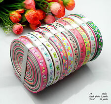 "20yards 3/8"" mixed 10 Style sewing satin grosgrain ribbon lot wholesale -A30"