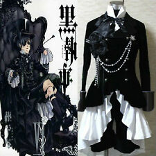 New Black Butler Ciel Phantomhive Black Suit Outfit Custom Cosplay Costume