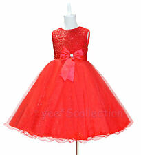 New Red Flower Girl Wedding Bridesmaid Party Formal Dress Size 18M 3T 4T 6 8y