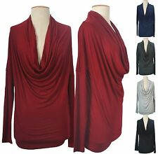 Sexy Solid Long Sleeve Cowl Neck Front Draped Jersey Knit Shirt Blouse Top Knit